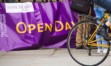 University of Manchester open day sign